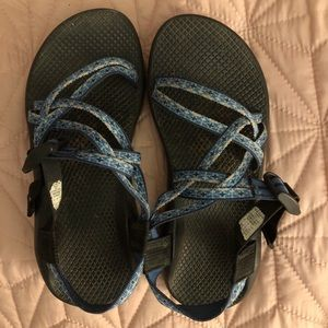 Lightly worn Chacos - Blue Aztec Print